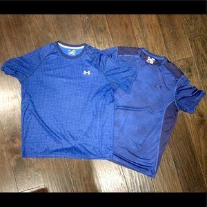 Lot of 2 blue Under Armour shirts. XL heat gear